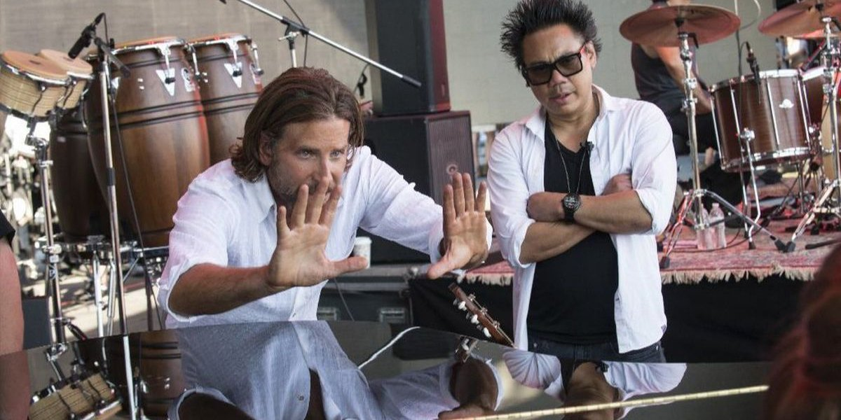 Bradley Cooper directing on the set of A Star Is Born