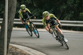 Grace Brown leads Mitchelton-Scott teammate and leader Amanda Spratt in the breakaway at the 2020 Australian Road Championships, with Spratt taking the elite women's road race title