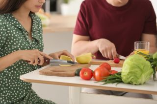 man and woman cooking, cooking, healthy diet