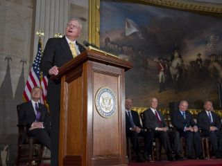 Apollo 11 Commander Neil Armstrong speaks to Congress at a ceremony to receive the Congressional Gold Medal.