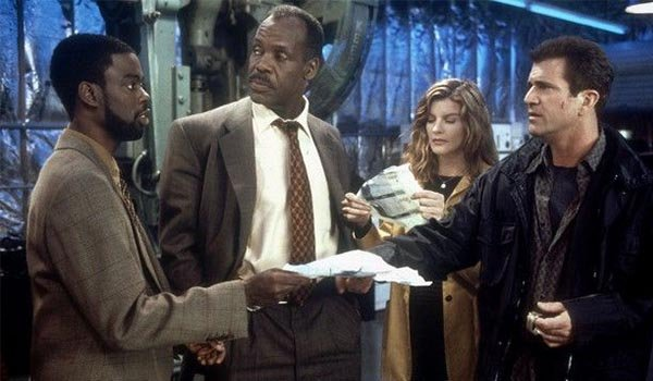 Chris Rock, Danny Glover, Rene Russo and Mel Gibson in Lethal Weapon 4
