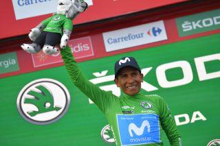 Nairo Quintana (Movistar) in the points jersey at the 2019 Vuelta a Espana