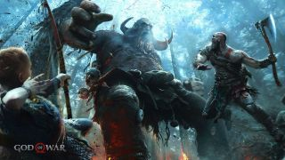 Kratos with his axe raised, leaping towards a giant monster in God of War