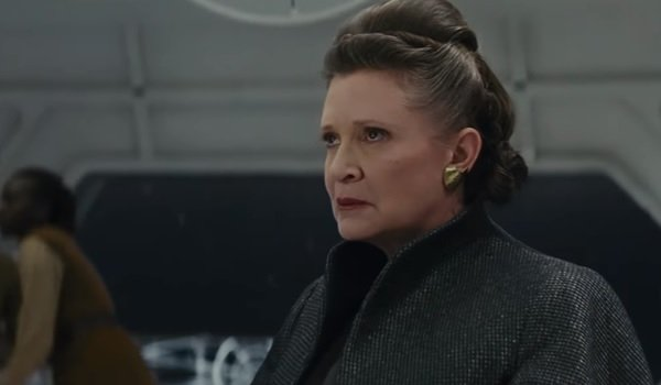 Star Wars The Last Jedi Carrie Fisher General Leia sits in worried contemplation