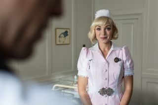 Trixie in pink nurse outfit Call the Midwife