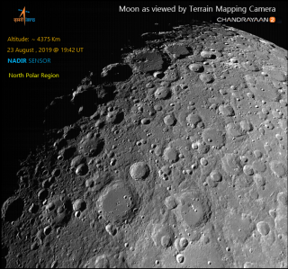 View of the North Pole region of the Moon from Chandrayaan-2 on 23 August 2019.