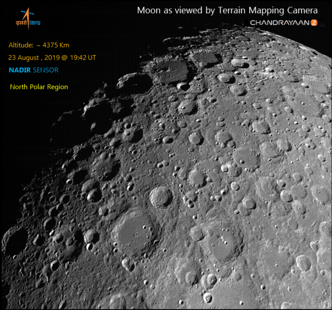 A view of the north polar region of the moon as seen by Chandrayaan-2 on Aug. 23, 2019.