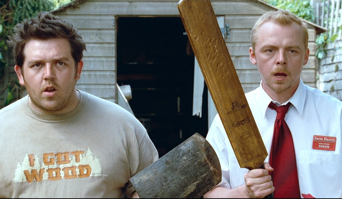 Nick Frost I Got Wood shirt Simon Pegg in Shaun of the Dead