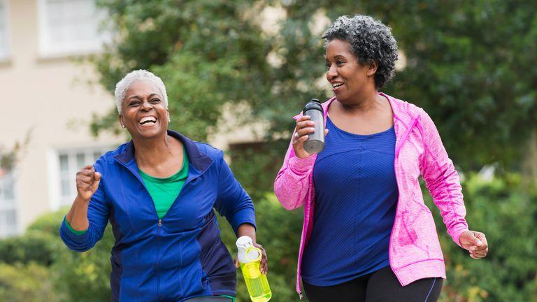 Two senior women exercising
