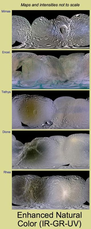 Mysterious Patches of Color Mapped on Saturn's Moons