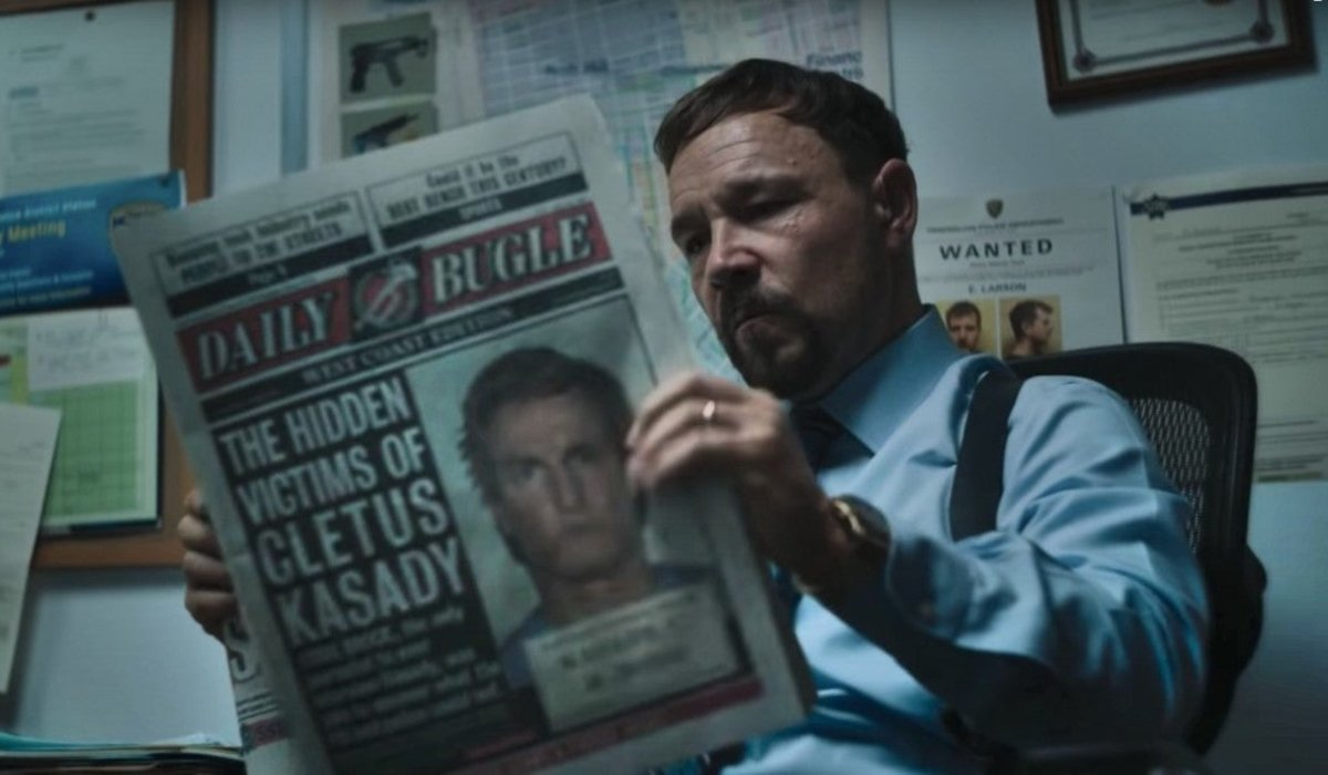 Stephen Graham reads The Daily Bugle in Venom: Let There Be Carnage.