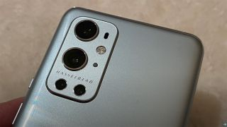 Close-up shot of OnePlus 9 Pro rear camera with Hasselblad branding