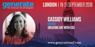 Cassidy Williams' talk 'Creating Art with CSS' will be appearing at Generate London 19 - 21 September 2018.