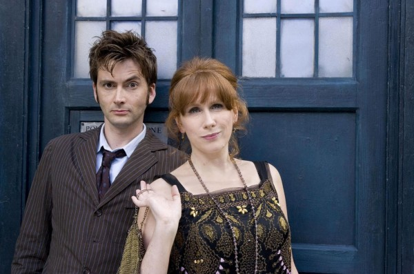 David Tennant and Catherine Tate by Doctor Who's Tardis