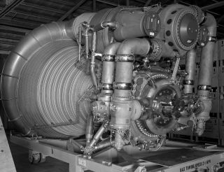 A close-up view of an F-1 engine for the Saturn V rocket's first stage. Amazon.com CEO Jeff Bezos says he has found of the five engines used to launch Apollo 11 and plans to raise at least one from the ocean floor.