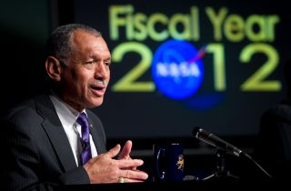 NASA administrator Charlie Bolden at NASA's Fiscal Year 2012 budget briefing on Monday, Feb. 14, 2011 at NASA Headquarters in Washington.