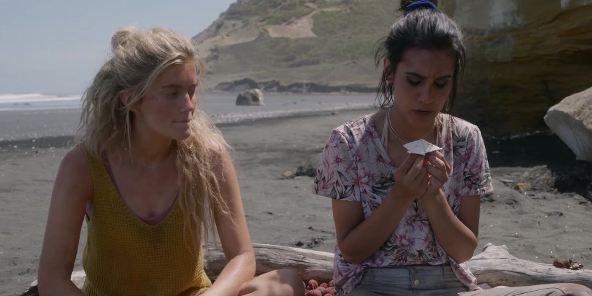 Mia Healey and Sophia Ali as Shelby and Fatin in The Wilds