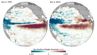 Map of waters in the equatorial Pacific Ocean, revealing an El Nino is on its way.