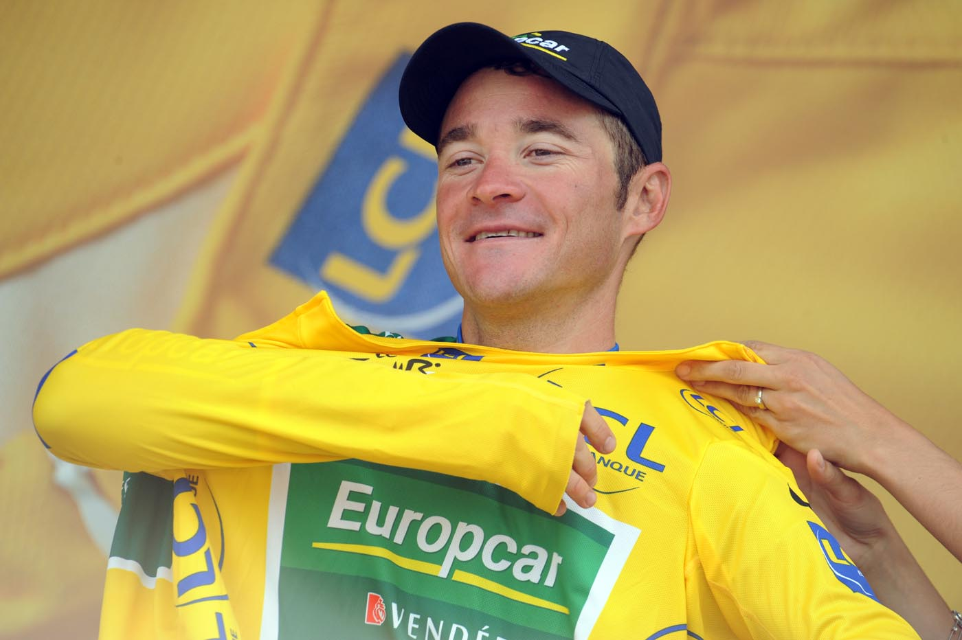 Thomas Voeckler on podium, Tour de France 2011, stage 13