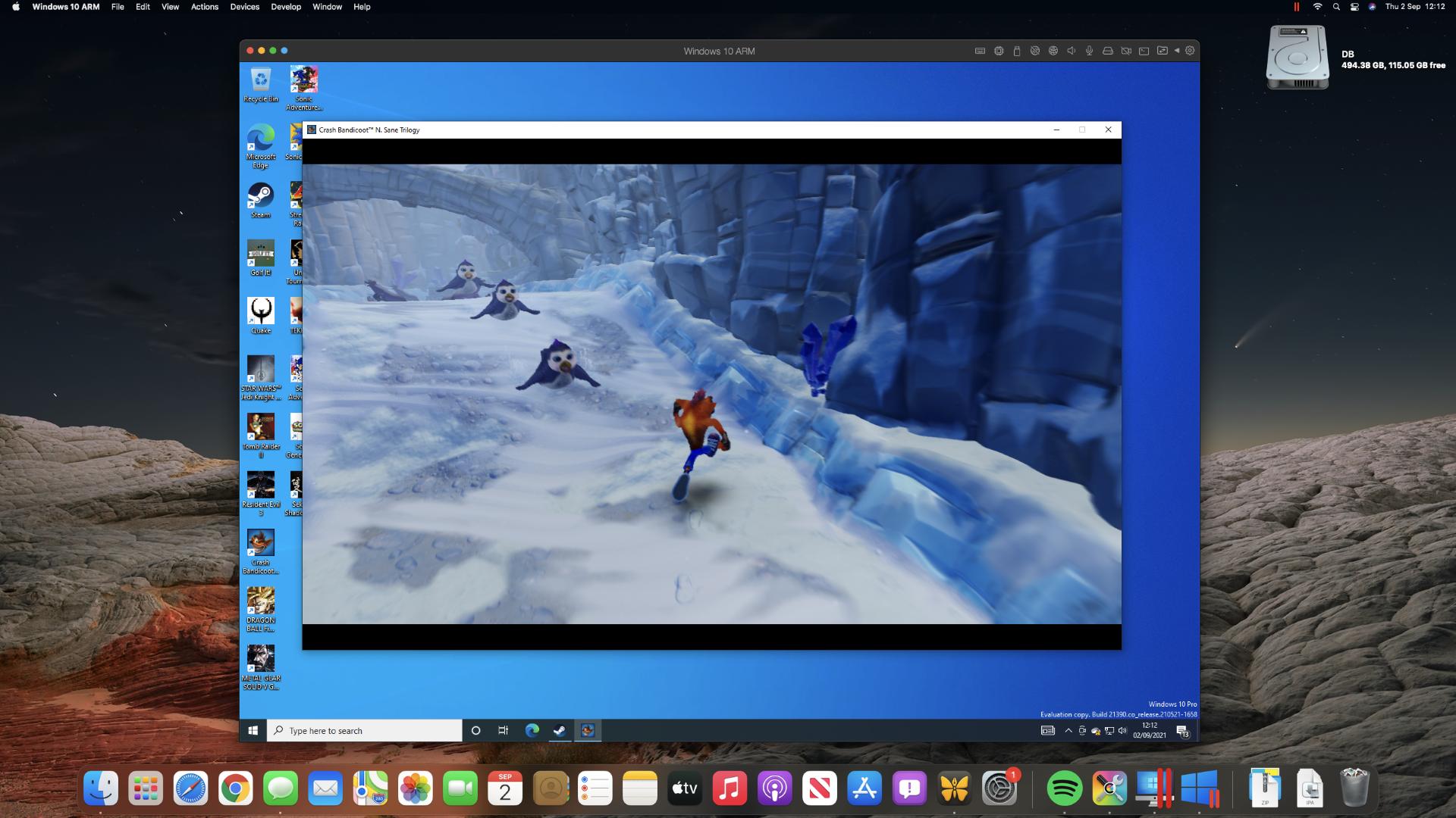 Crash Bandicoot Trilogy on an M1 Mac mini through Steam