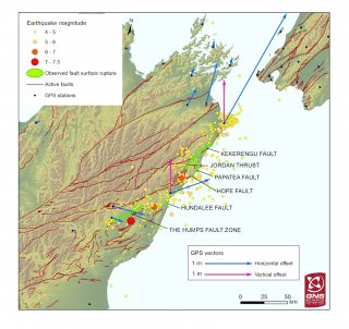 map of fault rupture along Kaikoura fault