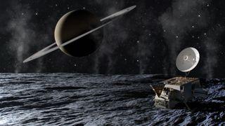 An artist's depiction of the Enceladus Orbilander mission concept.