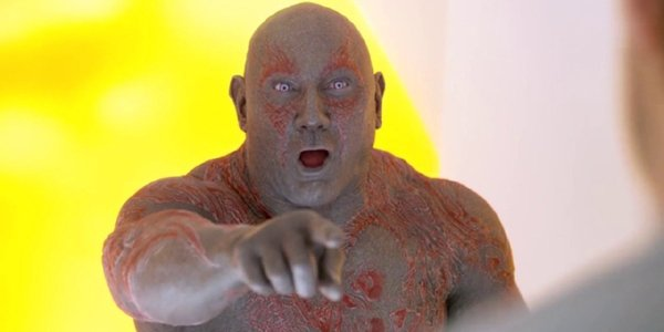 Guardians of the Galaxy Drax points and laughs at Star-Lord you must be so embarrassed