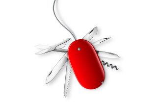 Tools like those of a Swiss Army knife emerge from a red computer mouse