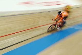Jan-Willem van Schip of the Netherlands leads on his way to winning the gold medal in the Men's Points Race
