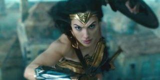 Wonder Woman flying into battle