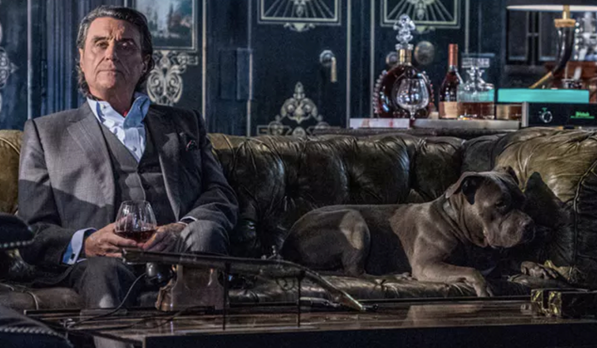 John Wick: Chapter 3 Parabellum Winston and John's dog on the couch