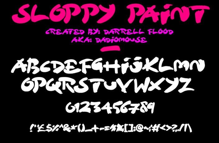 Free graffiti fonts: Sloppy Paint
