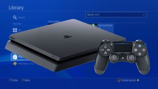 A photo illustration of a PS4 Slim in front of the new Library.