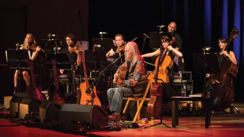 Roy Harper on stage with string ensemble