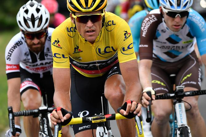 Greg van Avermaet (BMC Racing) defends his race lead by attacking