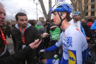 Deceuninck-QuickStep neo-pro Ian Garrison talks to the press after finishing third on the fourth and final stage of the 2020 Tour de la Provence