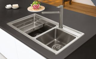 Caple's Axle collection of inset and undermounted sinks are made from solid stainless steel