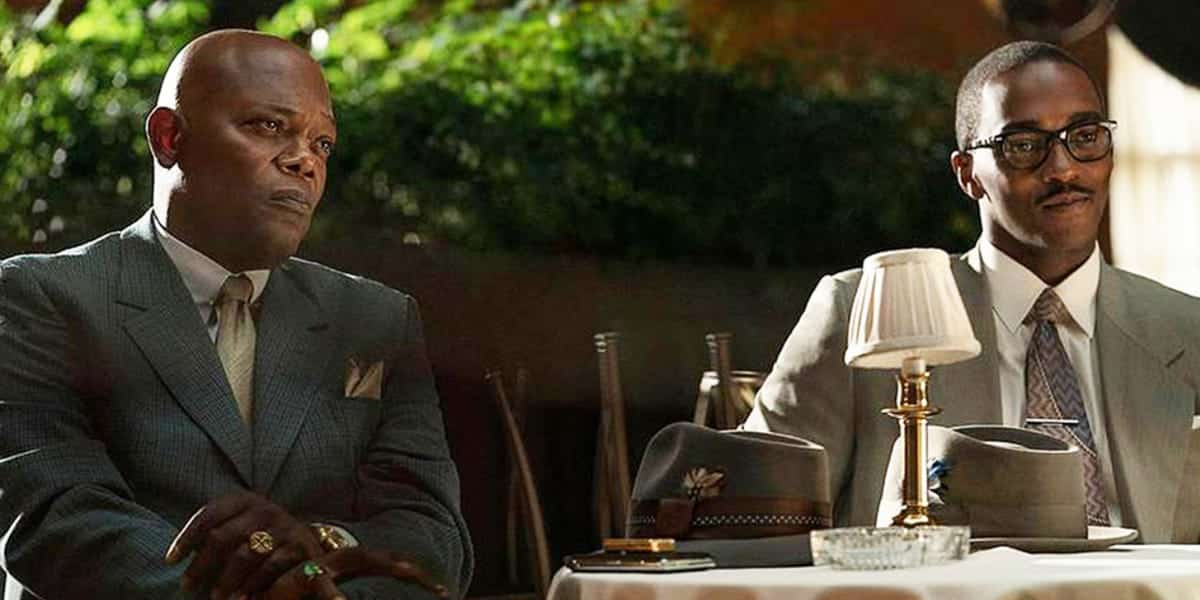 Samuel L. Jackson and Anthony Mackie in the Apple TV movie, The Banker.