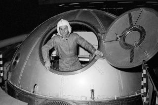 NASA astronaut Philip Chapman undergoes training in a centrifuge in preparation for a possible future spaceflight in 1968.