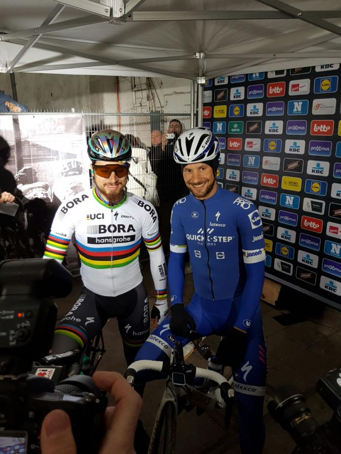 Tom Boonen and Peter Sagan ahead of Omloop Het Nieuwsblad.