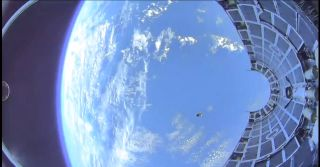 The view of a SpaceX missile disguise falling to Earth.