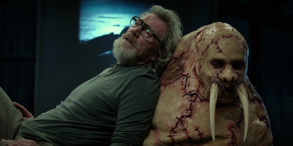 Michael Parks and Justin Long in Tusk