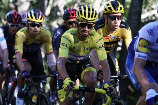 Team Deceuninck rider Frances Julian Alaphilippe C wearing the overall leaders yellow jersey rides during the 4th stage of the 107th edition of the Tour de France cycling race 157 km between Sisteron and OrcieresMerlette on September 1 2020 Photo by KENZO TRIBOUILLARD AFP Photo by KENZO TRIBOUILLARDAFP via Getty Images