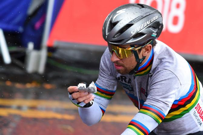 Peter Sagan eats some solid food