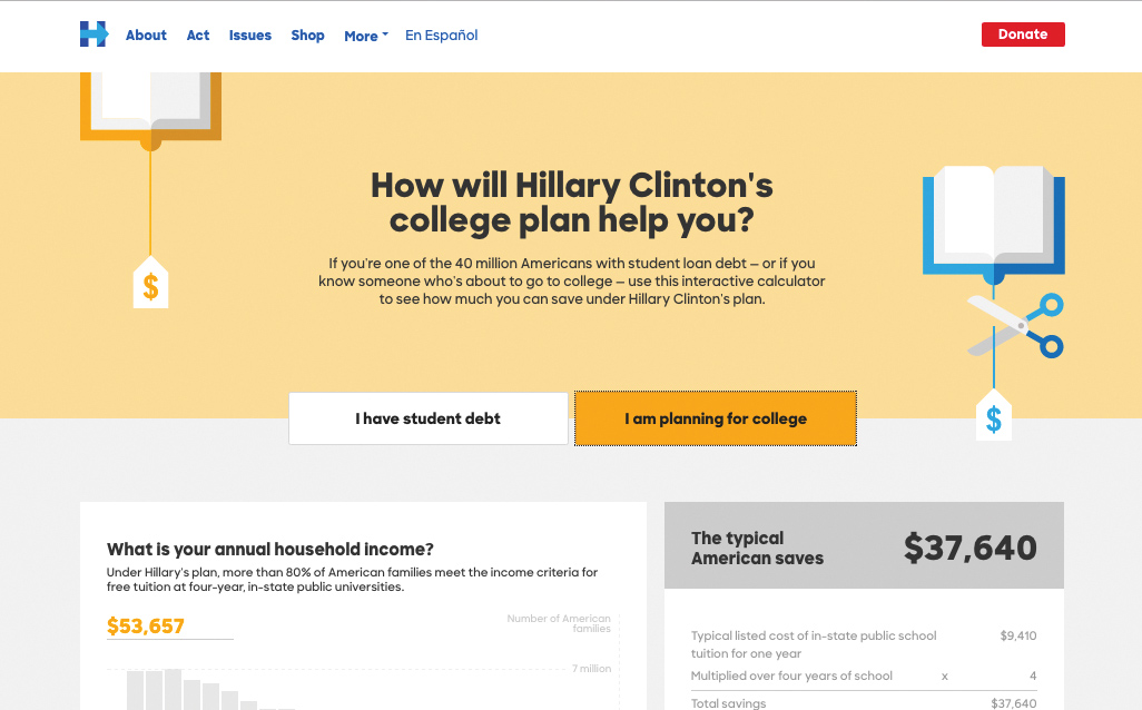 Hillary Clinton's college plan page