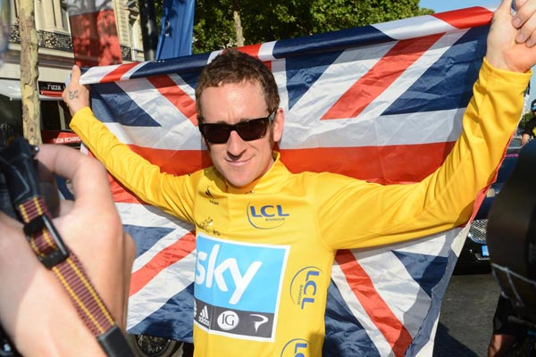 Bradley Wiggins and union flag, Tour de France 2012