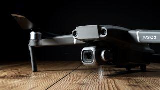 Close-up of DJI Mavic 2 Pro drone camera and gimbal