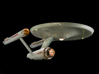 "The iconic science fiction TV series ""Star Trek"" first aired on Sept. 8, 1966 and celebrates its 50th anniversary in 2016. The show chronicled the voyages of the starship USS Enterprise. The studio model of the ship (shown here) has been fully restored an"