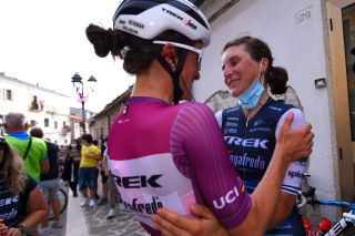SANMARCOLACATOLA ITALY SEPTEMBER 18 Arrival Elisa Longo Borghini of Italy and Team Trek Segafredo Celebration Elisabeth DeignanArmitstead of The United Kingdom and Team Trek Segafredo UCI Leader Jersey during the 31st Giro dItalia Internazionale Femminile 2020 Stage 8 a 915km stage from Castelnuovo della Daunia to San Marco la Catola 640m GiroRosaIccrea GiroRosa on September 18 2020 in San Marco la Catola Italy Photo by Luc ClaessenGetty Images