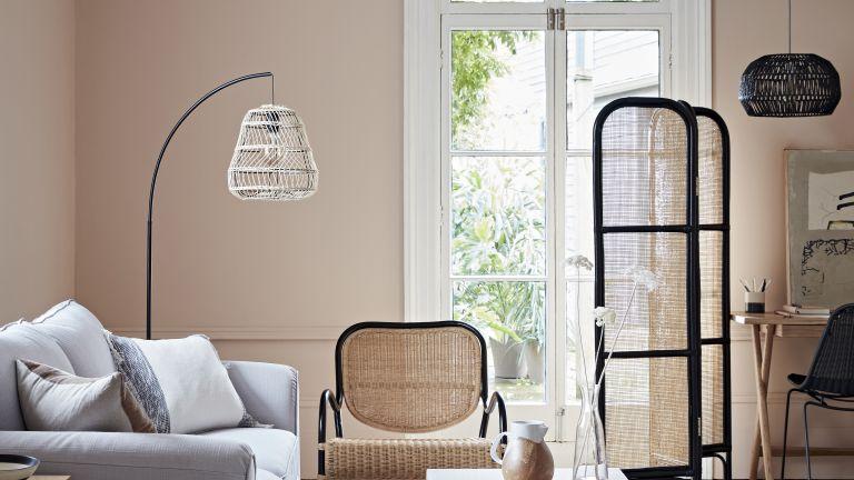 Escapism interiors trend, living room with rattan furniture from Habitat